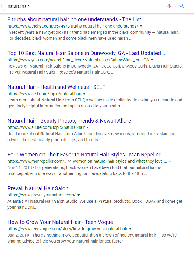 Google search page results example
